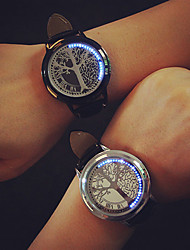 cheap -Couple's Dress Watch Quartz Leather Black LED Light Analog Fashion - Golden Silver / Black Black / Silver One Year Battery Life / Stainless Steel