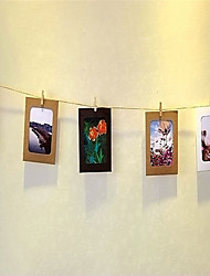 cheap -10pcs DIY Three-colour Wall Picture Kraft Photo Hanging Frame Album with Rope Clip for Home Decoration