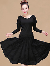cheap -Latin Dance Outfits Women's Training / Performance Polyester / Milk Fiber Lace / Split Joint Long Sleeve High Skirts / Top