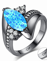 cheap -Personalized Customized Blue White Cubic Zirconia Ring Zircon Classic Engraved Gift Promise Festival Oval 1pcs White Blue / Laser Engraving