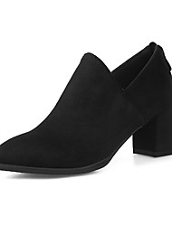 cheap -Women's Heels Chunky Heel Pointed Toe Suede Casual / Minimalism Spring &  Fall Black / Army Green / Wine
