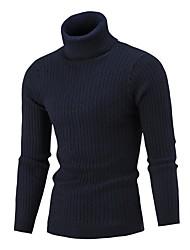 Недорогие -Муж. Однотонный Длинный рукав Пуловер Свитер джемпер, Хомут Шерсть Черный / Винный / Белый US32 / UK32 / EU40 / US34 / UK34 / EU42 / US38 / UK38 / EU46