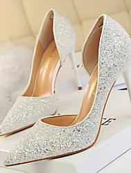 cheap -Women's Wedding Shoes Stiletto Heels Stiletto Heel Rhinestone PU Spring White / Red / Gold / Party & Evening