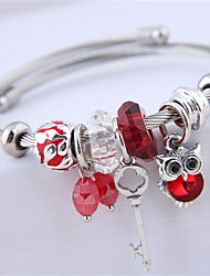 cheap -Women's Charm Bracelet Bracelet Bangles Bracelet Beads Owl Keys European Sweet Fashion Cute Elegant Rhinestone Bracelet Jewelry Black / Red / Blue For Wedding Party Gift Daily Prom