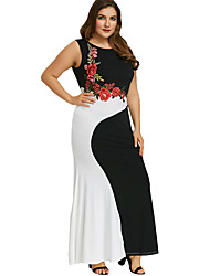 cheap -Women's Plus Size Bodycon Cotton Sleeveless Geometric Color Block Patchwork Basic Elegant Cotton Belt Not Included Black XL XXL XXXL XXXXL XXXXXL