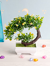 cheap -1Pc Artificial Flower Small Potted Ornaments Green Plant Lover Tree Simulation Plant Potted Plastic Fake Flower Home