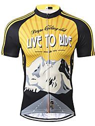 abordables -21Grams Homme Manches Courtes Maillot Velo Cyclisme Noir / jaune. Rétro Cyclisme Maillot Hauts / Top VTT Vélo tout terrain Respirable Evacuation de l'humidité Séchage rapide Des sports Térylène