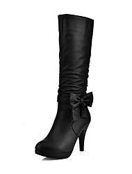 cheap -Women's Boots Cone Heel Round Toe PU(Polyurethane) Mid-Calf Boots Sweet Fall & Winter Black / Blue / Pink