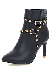 cheap -Women's Boots Stiletto Heel Pointed Toe Rivet PU(Polyurethane) Booties / Ankle Boots Vintage / British Fall & Winter Black / White / Pink / Party & Evening