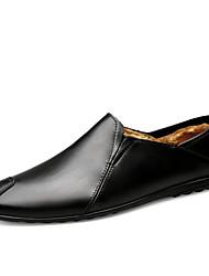 Недорогие -Муж. Кожаные ботинки Наппа Leather Зима На каждый день / Английский Мокасины и Свитер Для прогулок Сохраняет тепло Черный / Темно-коричневый / Офис и карьера / Обувь для вождения