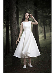 cheap -A-Line Wedding Dresses Jewel Neck Tea Length Chiffon Over Satin Cap Sleeve Simple Casual Little White Dress with 2020