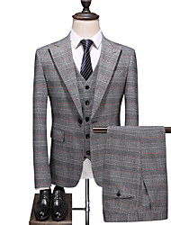 cheap -Light Grey Checkered Standard Fit Polyester Suit - Peak Single Breasted One-button