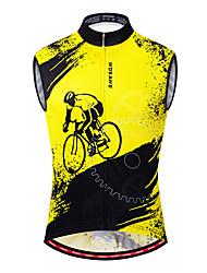 abordables -WOSAWE Homme Sans Manches Maillot Velo Cyclisme Gilet Velo Cyclisme Noir / jaune. Cyclisme Gilet / Sans Manche Maillot VTT Vélo tout terrain Vélo Route Respirable Evacuation de l'humidité Séchage