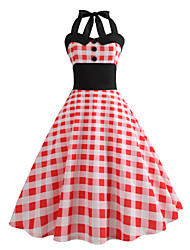 cheap -Audrey Hepburn Country Girl Plaid Retro Vintage 1950s Rockabilly Dress Masquerade Women's Costume Pink Vintage Cosplay School Office Festival Sleeveless Medium Length A-Line
