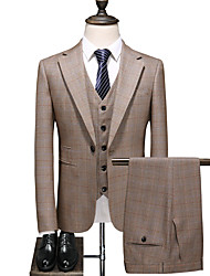 cheap -Khaki Checkered Standard Fit Polyester Suit - Notch Single Breasted One-button