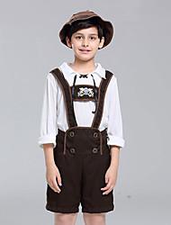 cheap -Oktoberfest Beer Outfits Lederhosen Men's Boys' Blouse Pants Bavarian Costume Olive Brown