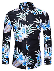 cheap -Men's Casual Basic Shirt - Floral Navy Blue