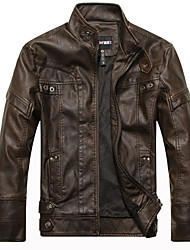 cheap -Men's Daily Regular Leather Jacket, Solid Colored Shirt Collar Long Sleeve Polyester Black / Camel / Brown
