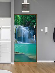 cheap -Forest Falls Door Stickers Decorative Waterproof Door Decal Decor