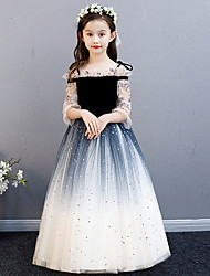 cheap -Princess Floor Length Flower Girl Dress - Polyester / Tulle 3/4 Length Sleeve Off Shoulder with Paillette