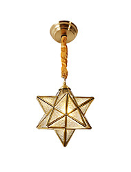 cheap -Pendant Lamp Adjustable Hanging Light Vintage Glass Shade Art Ceiling Light Star Shape for Hallway Balcony Dining Hall Gold