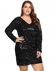 cheap -Women's Wine Green Dress Shift Solid Colored V Neck Sequins XL XXL