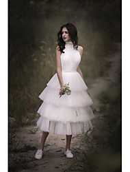 cheap -A-Line Halter Neck Tea Length Tulle / Chiffon Over Satin Regular Straps Boho Little White Dress / Backless Made-To-Measure Wedding Dresses with Lace / Cascading Ruffles 2020