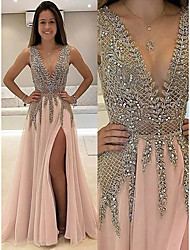 cheap -A-Line Sparkle & Shine Furcal Prom Dress Plunging Neck Sleeveless Sweep / Brush Train Chiffon with Beading Split Front 2020