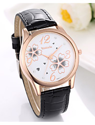 cheap -Women's Quartz Watches Flower Fashion Black White Brown PU Leather Quartz Black White Brown Casual Watch 1 pc Analog One Year Battery Life / Stainless Steel