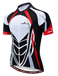 cheap -EVERVOLVE Men's Short Sleeve Cycling Jersey Navy Red+Brown Black / Red Bike Jersey Top Mountain Bike MTB Road Bike Cycling Breathable Moisture Wicking Quick Dry Sports Cotton Polyster Lycra Clothing