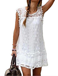 cheap -Women's Plus Size Vacation Holiday Casual Mini Shift Skater Dress - Solid Colored Lace Lace Black White Blue S M L XL