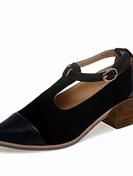 cheap -Women's Heels Comfort Shoes Block Heel PU Casual Summer Black / Brown / Daily