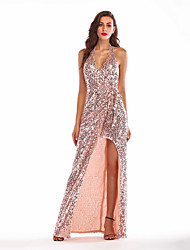 cheap -Diva Disco 1980s Dress Women's Sequins Costume Golden Vintage Cosplay Prom Sleeveless Floor Length Sheath / Column