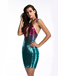 cheap -Diva Disco 1980s Dress Women's Sequins Costume Purple Vintage Cosplay Prom Sleeveless Above Knee Sheath / Column