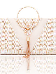 cheap -Women's Bags Polyester Evening Bag Tassel Chain Solid Color for Wedding / Party / Event / Party Gold / Beige / Wedding Bags