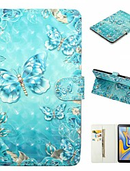 Недорогие -Кейс для Назначение SSamsung Galaxy Tab A2 10.5(2018) T595 T590 / Tab S2 9.7 / Tab E 9.6 Кошелек / Бумажник для карт / Защита от удара Чехол Бабочка Твердый Кожа PU