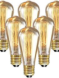 cheap -6pcs 60 W E26 / E27 ST64 Warm White 2200-2300 k Retro / Dimmable / Decorative Incandescent Vintage Edison Light Bulb 220-240 V