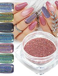 cheap -12 pcs Holographic Laser Glitter Powder Nail Pigment Powder Gradient Mirror Effect Nail Art Chrome Sequins Shining Polish Dust