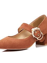 cheap -Women's Heels Chunky Heel Suede Fall / Spring & Summer Black / Almond / Pink