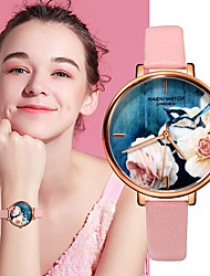 cheap -Women's Quartz Watches Flower Fashion Black Brown Pink PU Leather Quartz Black Blushing Pink Brown Casual Watch 1 pc Analog One Year Battery Life / Stainless Steel
