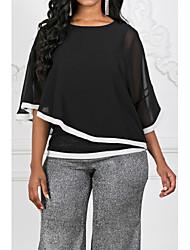 cheap -Women's Color Block Patchwork Blouse Basic Black / Blue / Gray
