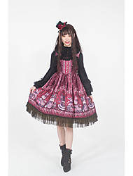 cheap -Gothic Style Vintage Gothic Lolita Dress Party Costume Masquerade Party Dress Female Japanese Cosplay Costumes Red Floral Print Lace Rabbit / Bunny Sleeveless Sleeveless Midi