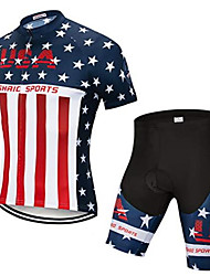 cheap -21Grams American / USA National Flag Men's Short Sleeve Cycling Jersey with Shorts - Red+Blue Bike Clothing Suit Breathable Moisture Wicking Quick Dry Sports Elastane Terylene Mountain Bike MTB Road