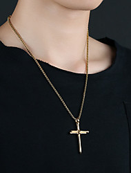 cheap -Men's Pendant Necklace Charm Necklace Classic Cross Punk Titanium Steel Gold Silver Black 50 cm Necklace Jewelry 1pc For Gift School Street Club Promise