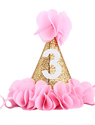 cheap -PoshPeanut Glitter Headband For Baby Gold First Birthday Party Cone Hat With Pink Flowers