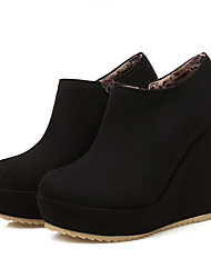 cheap -Women's Boots Wedge Heel Round Toe PU(Polyurethane) Booties / Ankle Boots Vintage / British Fall & Winter Black / Beige / Party & Evening