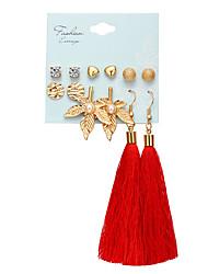 cheap -Women's Stud Earrings Drop Earrings Hoop Earrings Tassel Leaf Heart Ball Rustic Vintage Bohemian Gold Plated Earrings Jewelry Gold For Party Gift Daily Carnival Holiday 6 Pairs