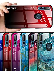 Недорогие -Кейс для Назначение Huawei Huawei Y9 2019 (Enjoy 9 Plus) / Huawei Y6 Pro (2019) / Huawei Y6 (2019) С узором Кейс на заднюю панель Мрамор / Градиент цвета Твердый Закаленное стекло