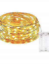 cheap -10m String Lights 100 LEDs SMD 0603 Warm White / White / Multi Color Waterproof / Party / Decorative Batteries Powered 1pc
