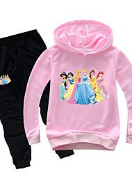 Недорогие -Дети Дети (1-4 лет) Девочки Классический С принтом С принтом Длинный рукав Обычный Обычная Хлопок Набор одежды Розовый